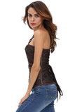 Brown Grommet Leather Trim Brocade Steampunk Corset