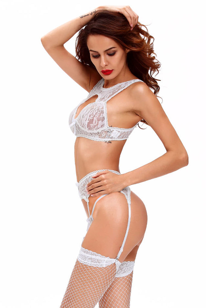 Seductive White Lace Bralette Garter Set