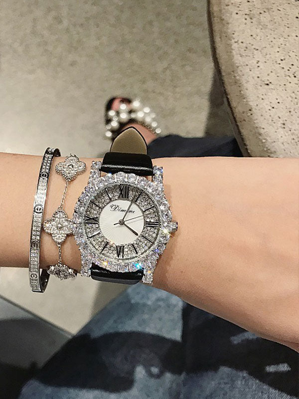 Silver Zircon Leather Belt Watch Ⅱ