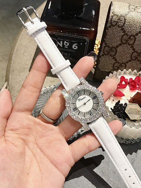 Silver Zircon Leather Belt WatchⅠ