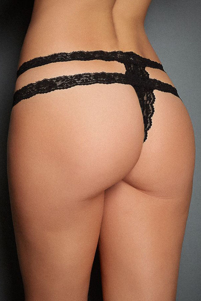 Black Lace Straps Satin Bow Naughty Thong