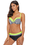 Neon Yellow Trim Zebra Striped 2pcs Bikini Swimsuit