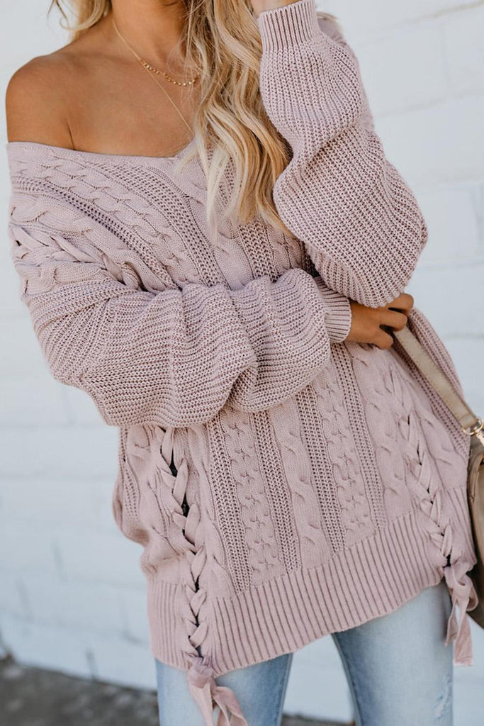 Pink Love Letters Cable Knit Lace Up Sweater