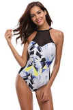 Mesh Splice High Neck Geometric Print Maillot