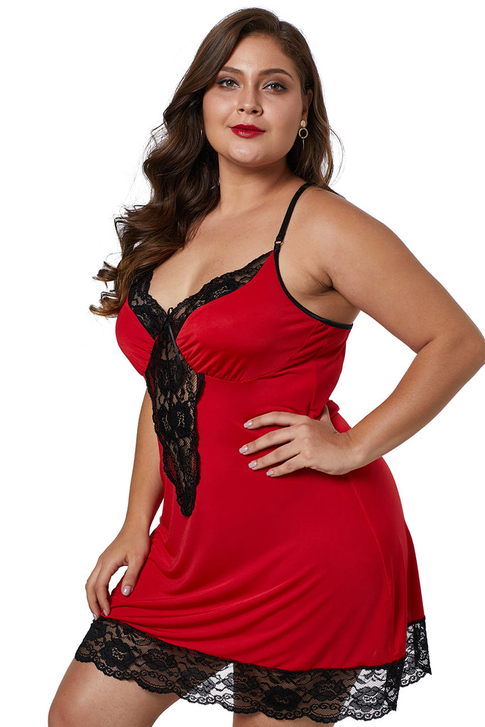 Red Venecia Chemise with Lace Trim