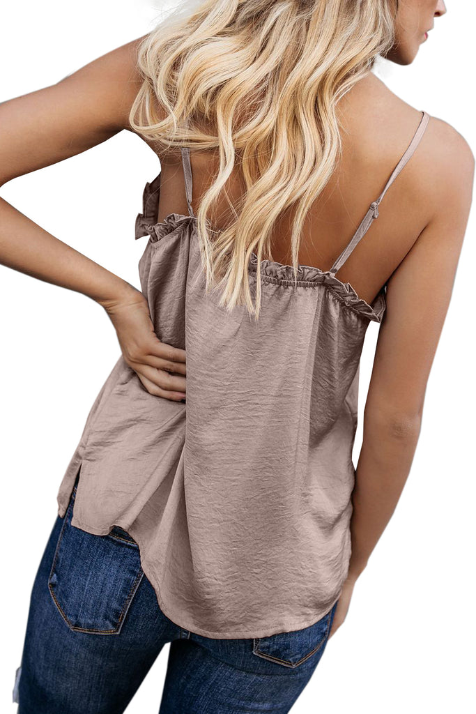 Apricot V-Neck Ruffle Adjustable Spaghetti Strap Tank Top