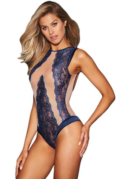 Lace Panel Contour Sleeveless Teddy