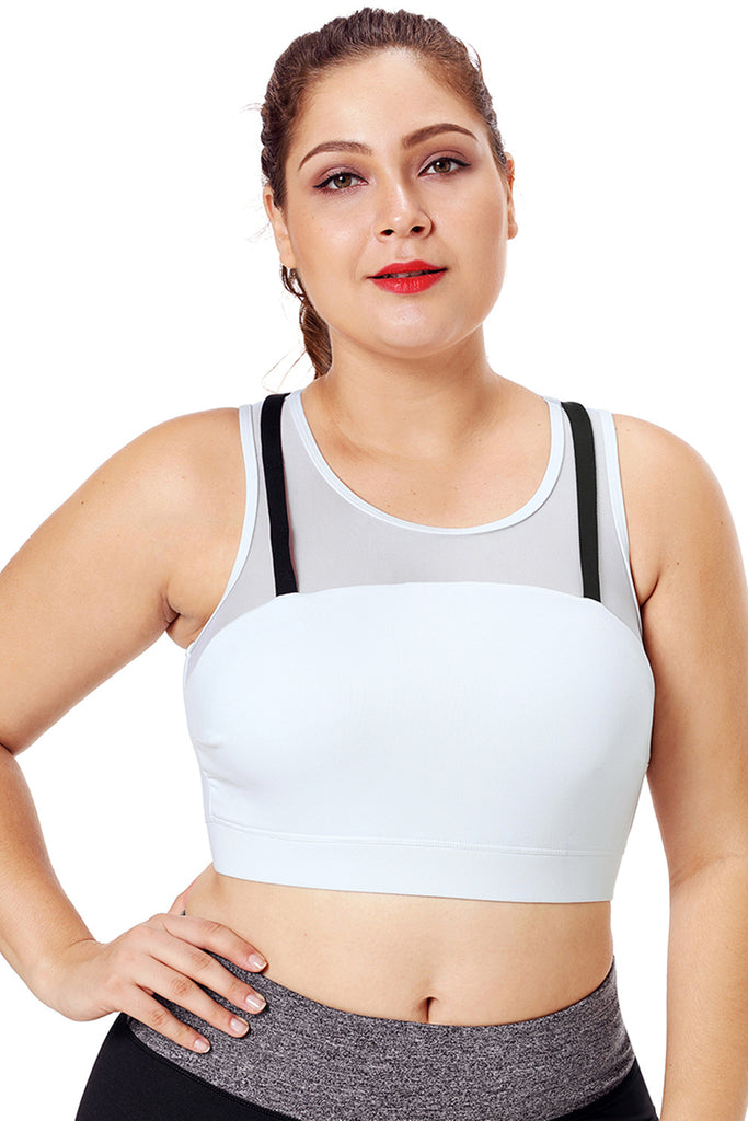 Black Strap Detail White Yoga Crop Top