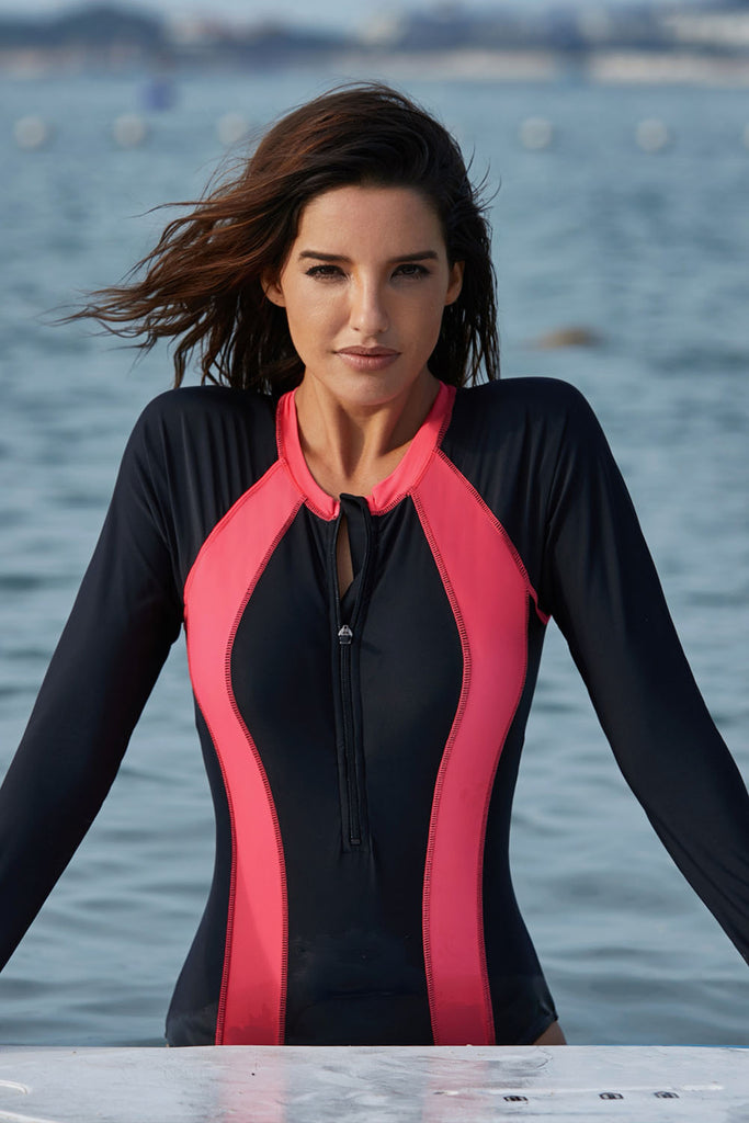 Hot Pink Accent Long Sleeve One-piece Swimsuit