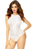 Allover Lace and Mesh Snap Crotch Keyhole Teddy