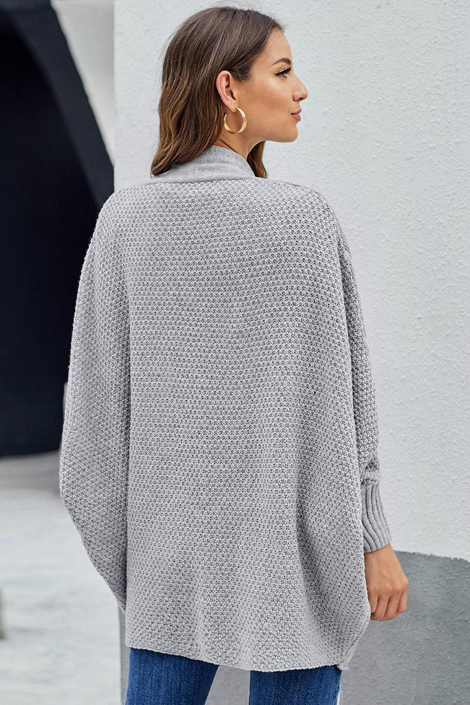 Gray Patch Pockets Batwing Sleeve Cardigan