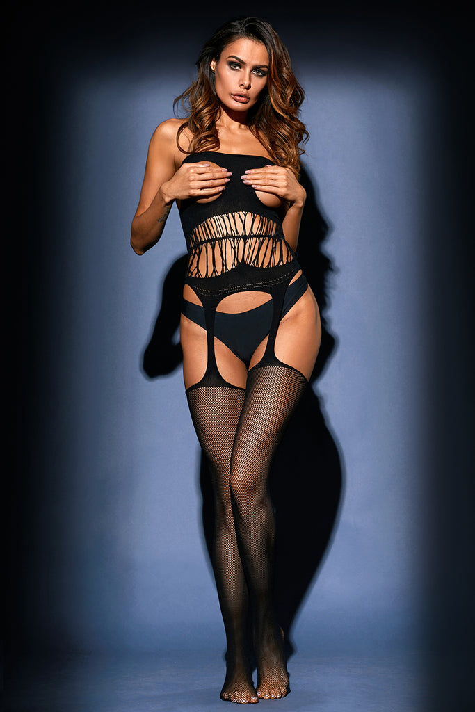 Black Daring Cutout Bodystocking Cupless Suspender Tights