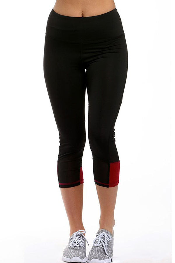 Red Patch Mesh Accent Black Active Capri Leggings
