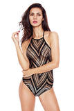 Black Chevron Netted Halter Teddy