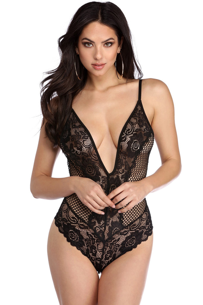 Black Lace Net Plunging V Neck Bodysuit