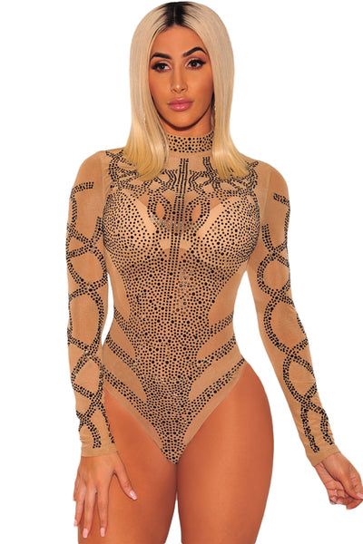 Khaki Black Rhinestone Faux Bustier Mesh Long Sleeves Bodysuit
