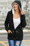 Black Fur Hood Horn Button Sweater Cardigan