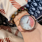 Women's Watch Quicksand Rose Gold Dial leather strap elegant watch