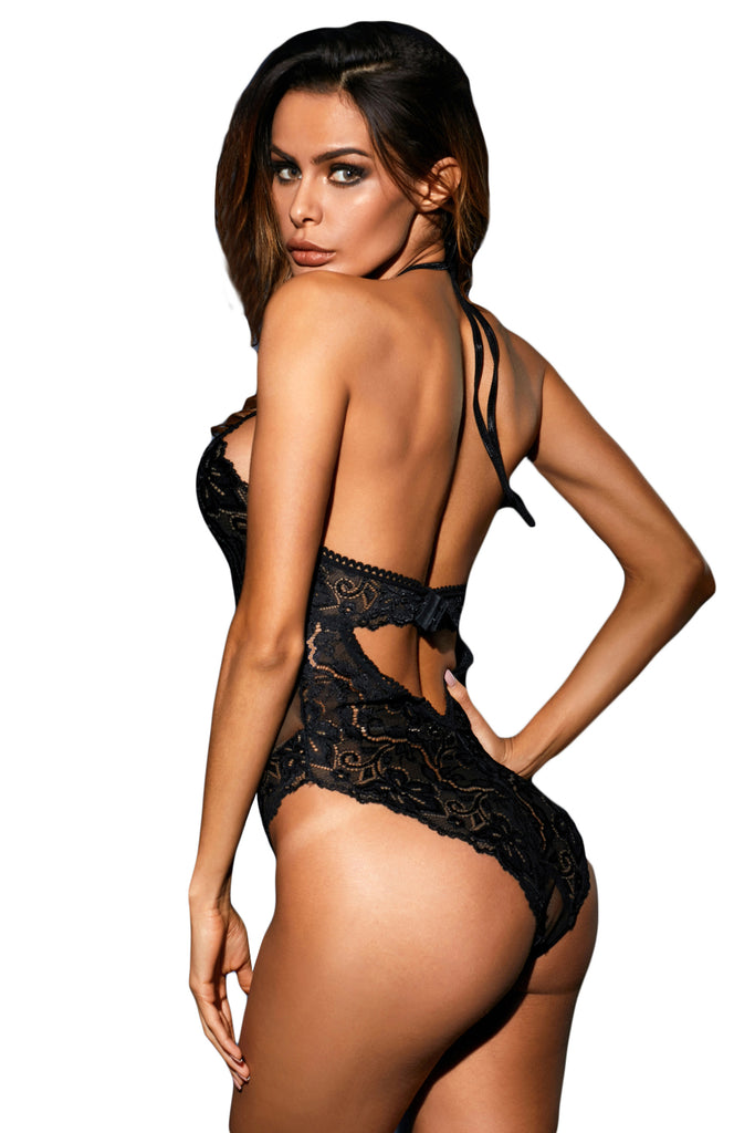 Romantic Black Fishnet Bodysuit Lingerie