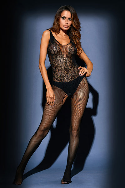 Black Leavy Lace Seamless Mesh Body Stocking