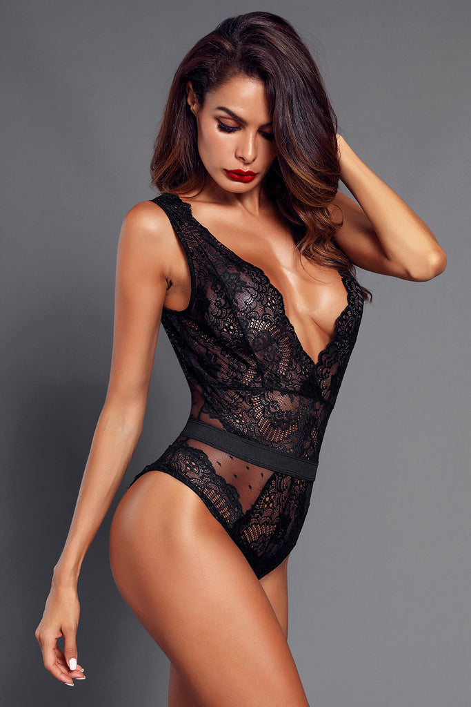 Scalloped Deep V Neck Lace Bodysuit