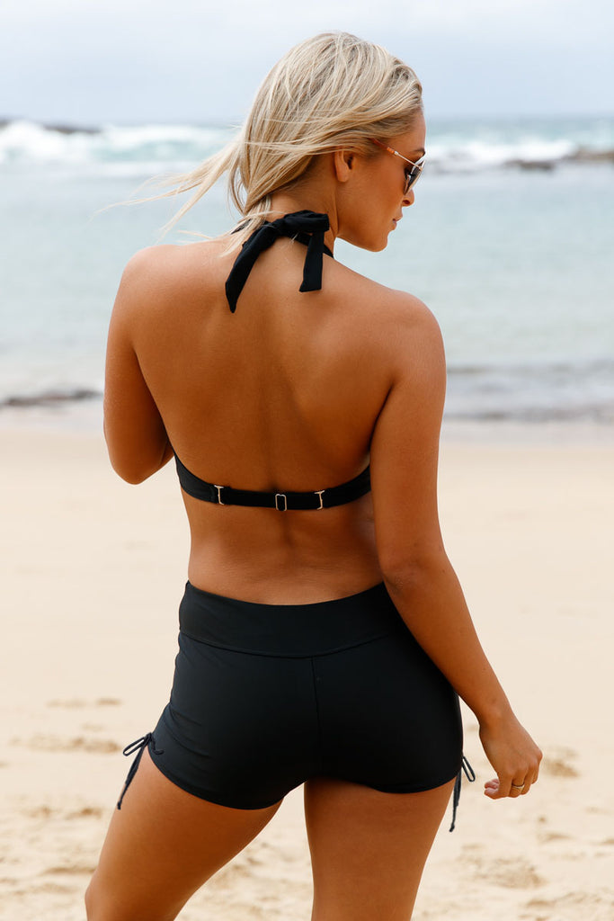 Black Wrap Push up Halter High Waist Shorts Swimsuit
