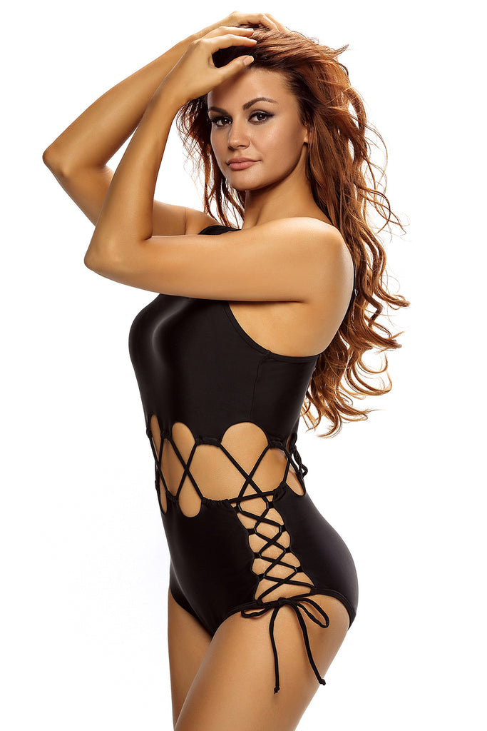 Black Lace Up Cutout Asymmetric Shoulder Maillot