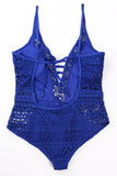 Royal Blue Lace Hollow Out Padded Maillot Swimsuit