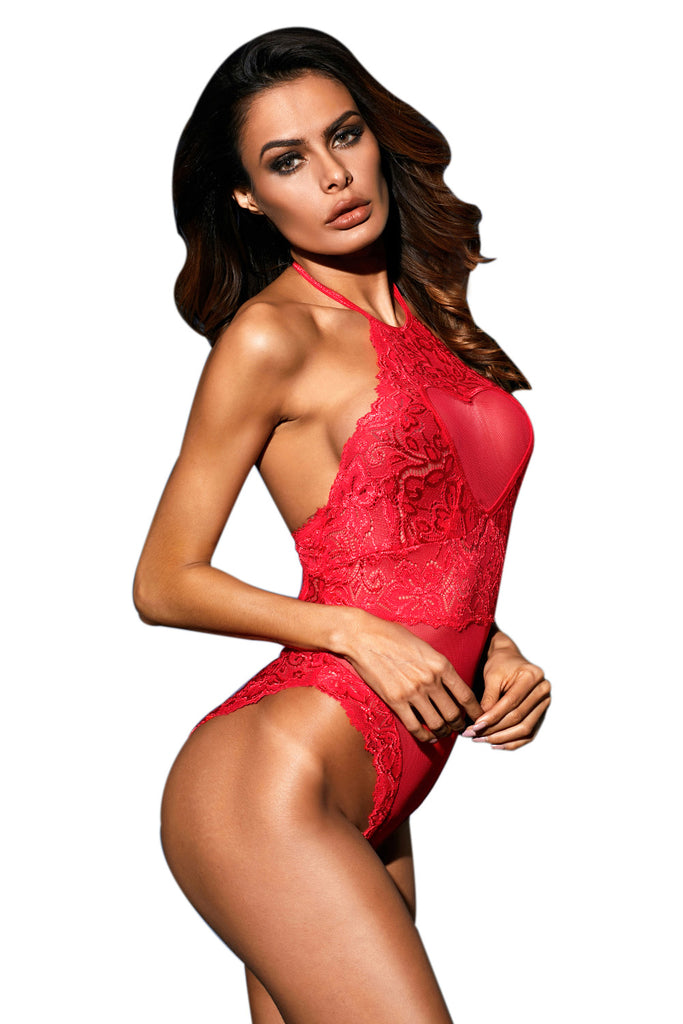 Flaming Red Fishnet Bodysuit Lingerie