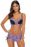 Lilac Floral Accent Bikini Tie Side Bottom Swimsuit