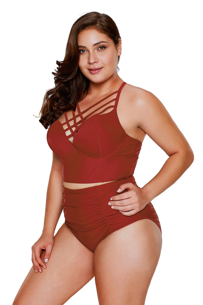 Red Strappy Neck Detail High Waist Swimsuit