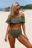 Oliver Ruffle Off Shoulder Bikini High Waist Swimsuit