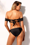 Black Socialite Off Shoulder Bikini 2pcs Bathing Suit