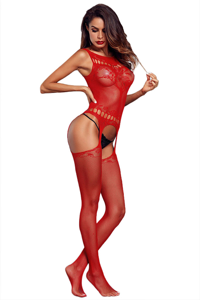 Sexy Lover Fishnet Patterned Garter Body Stocking