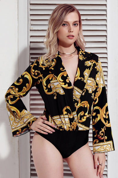 Black Printed Flare Long Sleeve Wrap Bodysuit