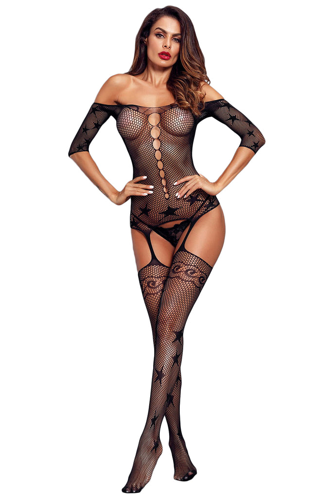 Black Starry Mesh Sleeved Off Shoulder Body Stocking