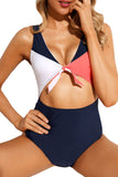 Cutout Tie Knot Front High Waist Monokini Swimsuit