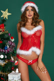 Marabou Trimmed Red 3pcs Christmas Lingerie Set