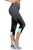 Blue Patch Mesh Accent Charcoal Active Capri Leggings