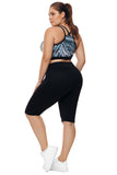 Black Knee Length Plus Size Sports Pants