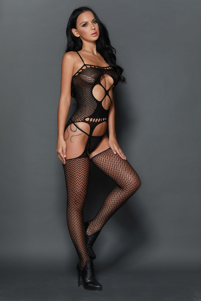 Black Seamless Wedding Night Cami Bodystocking