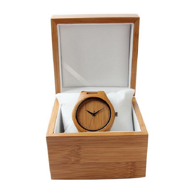 Simple Large Dial With Scale Wooden Watch