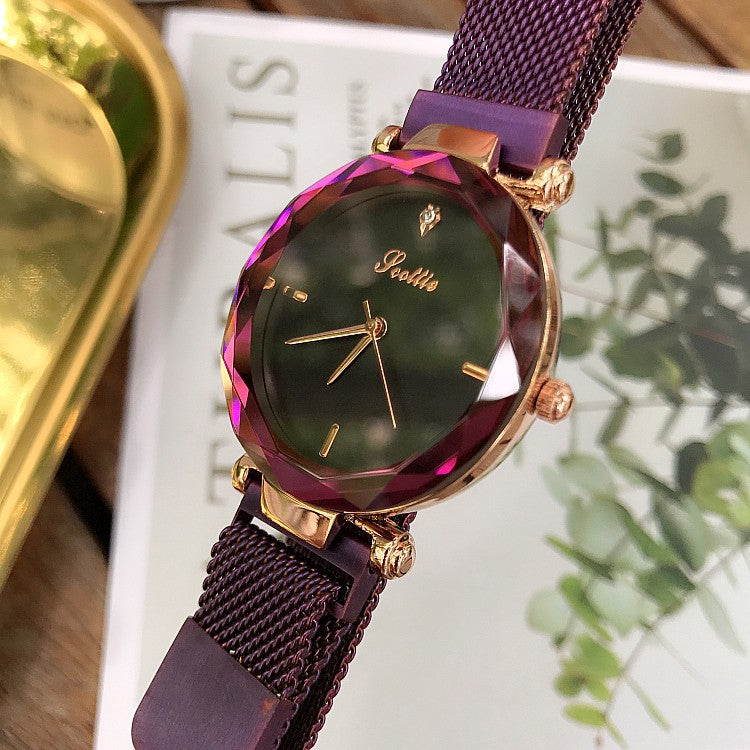 Magnet Buckle Simple Strap Quartz Wristwatch
