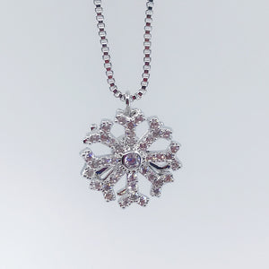 Snowflake Rotation Necklace - SILV
