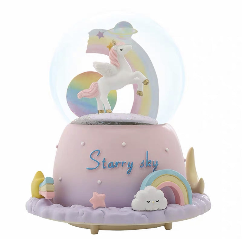 Starry Sky Unicorn Musical Snow Globe