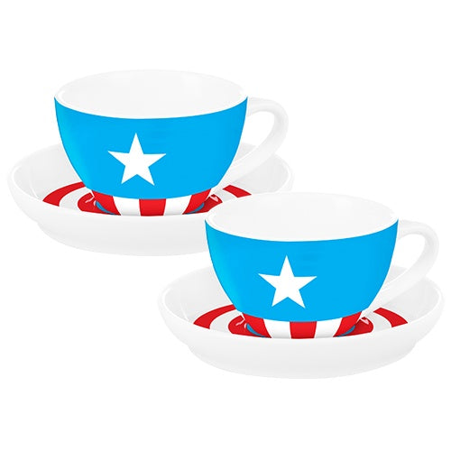 CAPTAIN AMERICA S/2 TEACUPS & SAUCERS