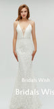 Pretty Lace  V-Neck Spaghetti Strap  Mermaid Wedding Dress EW0240