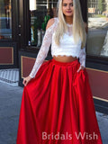 Fashion Two Pieces  Jewel Lace Long sleeves Red Prom Dress BW0418