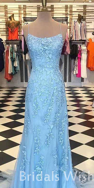 Affordable Lace Spaghetti Strap Applique Tulle Mermaid Long Prom Dress BW0417