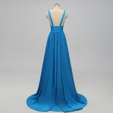 Cheap Side-Slit V-neck Blue Bridesmaid Dress,beautiful bridesmaid Dresses EW0231